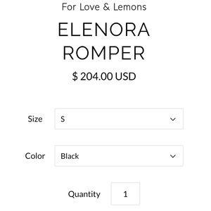 For Love And Lemons Pants - NWT Rare For Love & Lemons Elenora Romper